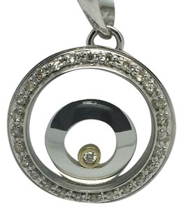 18K White Gold Circle Diamond Pendant