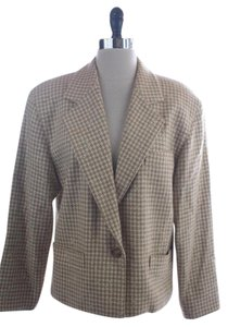 Escada Houndstooth Wool Suit Jacket Beige Blazer
