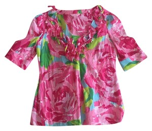 Lilly Pulitzer Top Hot pink, light pink, green, blue