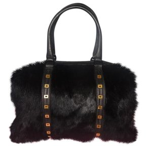 Rebecca Minkoff New Fur Leather Satchel in black