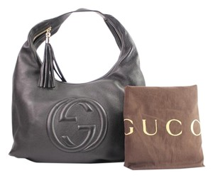 Gucci Shoulder Pebbled Leather Hobo Bag