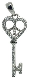 Other 14K White Gold Natural/ Geniune Diamond Key Pendant