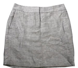 Ann Taylor LOFT Linen Blend Pencil Dress Mini Skirt Gray