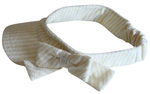 Chanel Yellow White Striped Visor Bow Elastic Back One Size