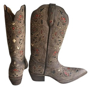 Laredo Western Wear Decorative Cutouts Leather Inlay Boots