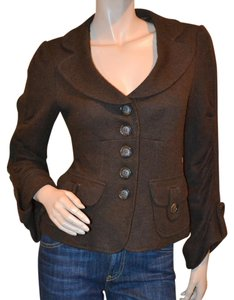 Nanette Lepore Preppy Lined Wool Blend Brown Blazer