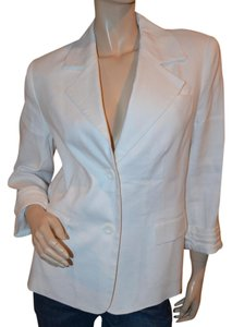 Alice + Olivia Preppy Lined Linen Mix White Blazer