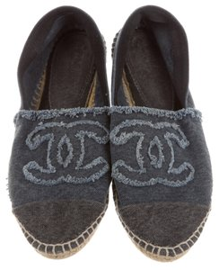 Chanel Espadrille Interlocking Cc Blue, Grey, Green Flats