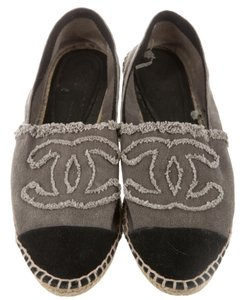 Chanel Espadrille Interlocking Cc Black, Grey Flats