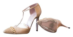 Gucci Studded T-strap Pump Nude Pumps