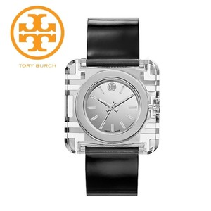 Tory Burch WOMEN'S IZZIE SILVER TONE BLACK PATENT LEATHER WATCH TRB3001