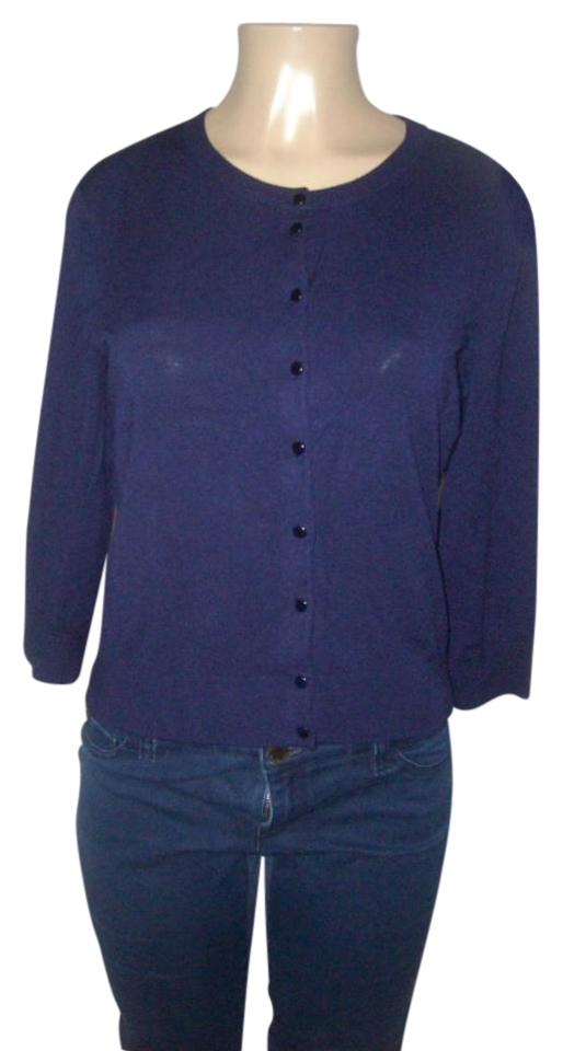 Cable & Gauge Purple Rayon Nylon Blend Crew Neck Button Front ...