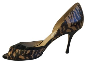 Jimmy Choo Peep Toe Black Patent Vintage Zebra/Brown/Black Pumps