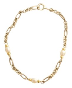 David Yurman David Yurman 18Y Gold & Sterling Silver Pearl Figaro Necklace