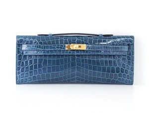 Herms Hermes Kelly Cut Blue Colvert Clutch