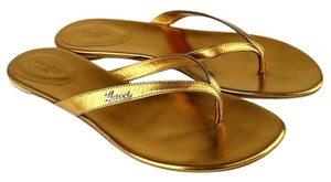 Gucci Leather Thong Flip Flop. 295097 Gold Flats