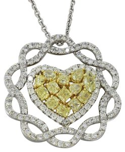Other 14k Gold 3.23ctw Yellow Diamond Heart Inifinity Pendant Necklace