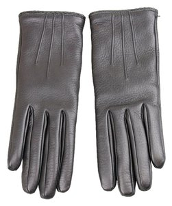 Gucci NEW GUCCI Leather/Cashmere Gloves w/Metal G Button 7.5 Black 258156