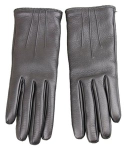 Gucci NEW GUCCI Leather/Cashmere Gloves w/Metal G Button 7 Black 258156