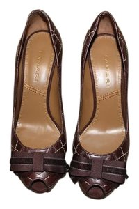 Tahari Peeptoe Bow Heels Size 7 Brown Pumps