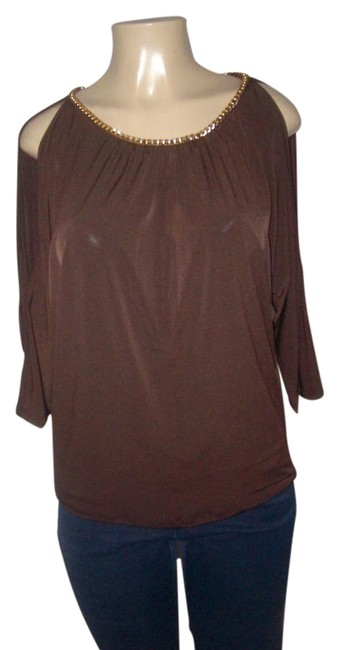 Item - Brown Polyester Blend Gold Chain Neck Blouse Size 10 (M)