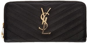 Saint Laurent YSL Monogram Quilted Zip-Around Wallet