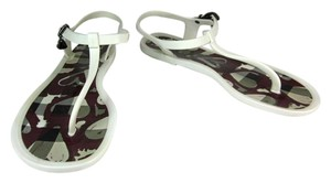Burberry White Nova Check Flat Logo Sandals