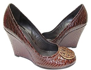 Tory Burch Leather Snake Print Brown Wedges