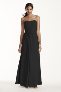 David's Bridal Black Chiffon F15555 Formal Bridesmaid/Mob Dress Size 6 (S)