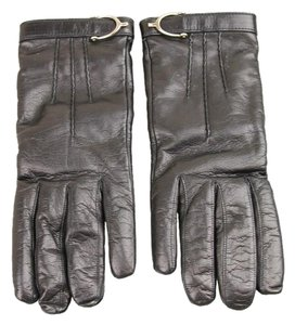 Gucci NEW GUCCI Leather/Cashmere Gloves w/Spur Detail 7.5 Black 296755
