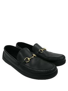Gucci Gucci Black Leather With Horsebit Loafers Driving Sz 9.5 Men's Shoes