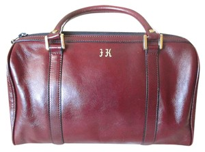 Goldpfeil Leather Monogramed Satchel in Burgundy