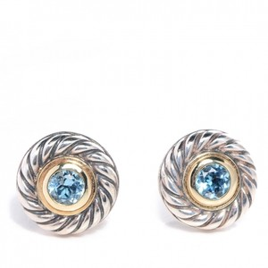 David Yurman David Yurman 14K YG & Silver Blue Topaz Cookie Stud Earrings