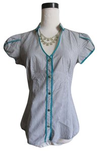 Anthropologie Retro Top Gray, White, Teal
