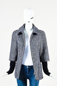 Chanel Navy Wool Silver Gold Metallic Trim Houndstooth Collared Coat