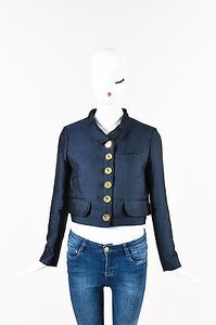 Chloé Chloe Navy Silk Wool Gold Blue Jacket
