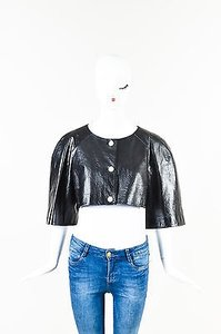 Chanel Leather Pearl Cc Black Jacket