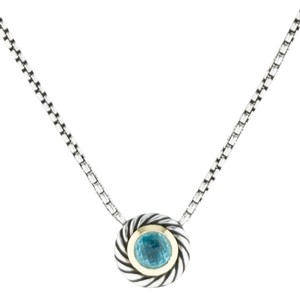David Yurman David Yurman 14K YG & Silver Blue Topaz Cookie Necklace