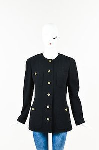Chanel Boutique Wool Tweed Gold Tone Cc Buttons Ls Collarless Black Jacket