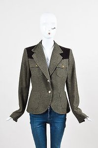 Dolce&Gabbana Dolce Gabbana Olive Green Brown Plaid Corduroy Trim Ls Blazer Jacket