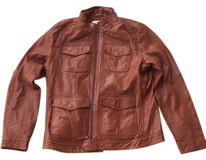 Lucky Brand terra-cotta Leather Jacket