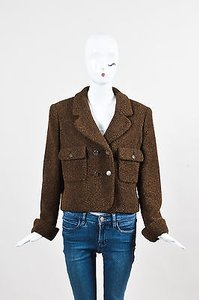 Chanel Boutique Tan Wool Mohair Cc Buttons Double Breasted Brown, Tan, Gunmetal Tone Hardware Jacket