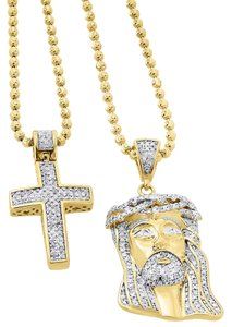 Other 925 Sterling Silver Diamond Pave Jesus Pendant Cross Set .88 Ct