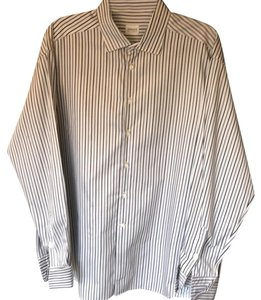 Armani Collezioni Button Down Shirt White and blue