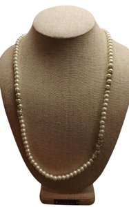 Banana Republic Pearl Necklace with added rhinestone design, Signed Banana Republic
