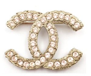 Chanel Authentic Chanel Light Gold CC Pink Crystal Brooch