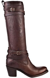 Frye Boot Leather Buckle Brown Boots