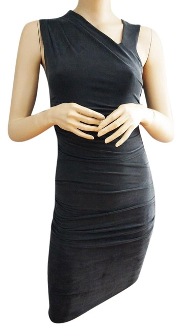 Item - Charcoal Grey / Off Black Sleeveless Asymmetric Draped Bodycon Made In Usa Above Knee Night Out Dress Size 4 (S)