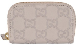 Gucci Gucci 324801 Mystic White Leather GG Guccissima Zip Around Coin Purse