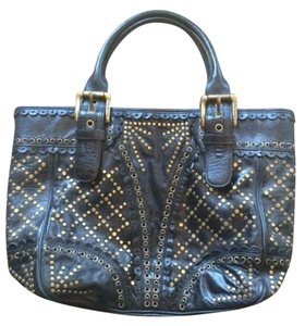 Isabella Fiore Studded Tote in Black with Gold Studs